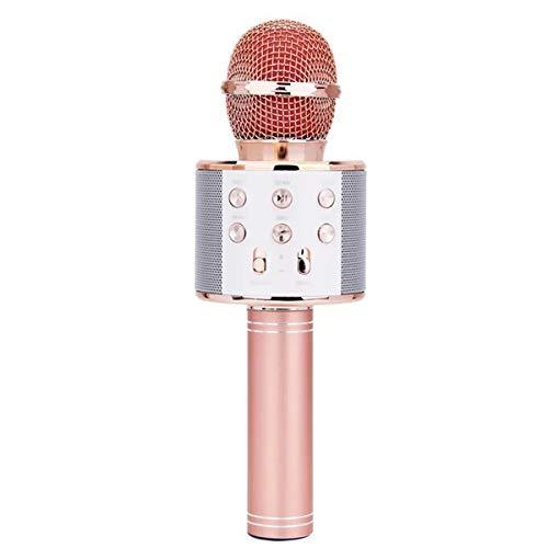 Microfoon, draadloos, bluetooth, karaoke, zakcomputer, USB, oplaadbaar, KTV ontvangst, microfoon, zang, speler, verjaardag, professionele microfoons, voor iOS/Android (kleur: roségoud)