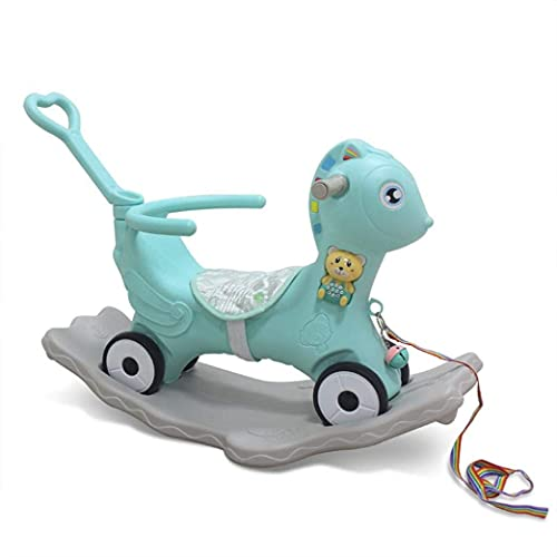 Toddler Ride On Rocking Toy, 2-in-1 Baby Rockers & Push Car with Story Machine and Pull Rope, Indoor Outdoor Ride on Toy for Kids Infant 1-3 Years, Birthday Gift for Boys or Girls
