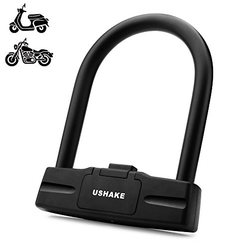 USHAKE Bicycles U Lock, Heavy Duty Bike Scooter Motorcycles Combination Lock Combo Gate Lock for Anti Theft (Black 14mm chackle)