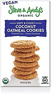 Organic Vegan Oatmeal Coconut Cookies, Gluten Free by Steve and Andy's -- Soft, and Chewy Cookie, Non GMO, No Corn Syrup, No Tree Nuts, Kosher (Vegan Oatmeal Coconut, Pack of 1)