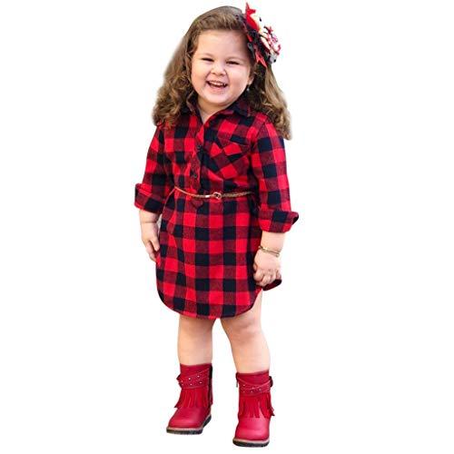 QinMM 0-4 años bebé Niñas Vestidos a Cuadros de Princesa Camisa con cinturón