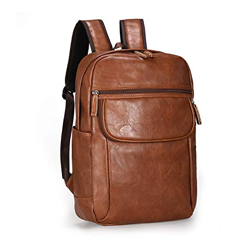 Business Travel Backpack, PU Leather Laptop Backpack for Men and Womens, Anti-Theft Water Resistant College School Bookbag Computer Backpack for Laptop Notebook Book School Bag