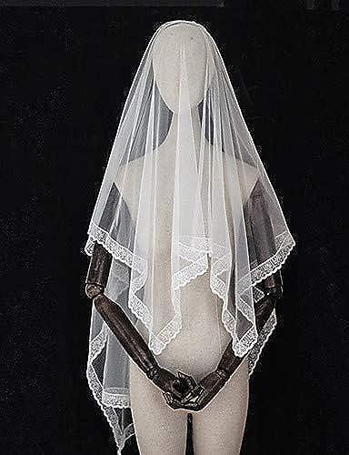 FengJingYuan-ZHUBAO Voile de de Mariage d'inspiration Vintage de Style européen à Deux Niveaux, voiles aux Coudes avec Tulle à Franges  offrant 100%