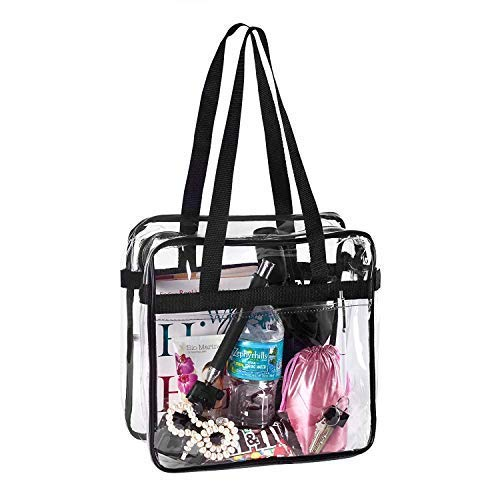 dee0ab33848b BAGS for LESS Clear Tote Stadium Approved with Handle and Zipper - 12x12x6