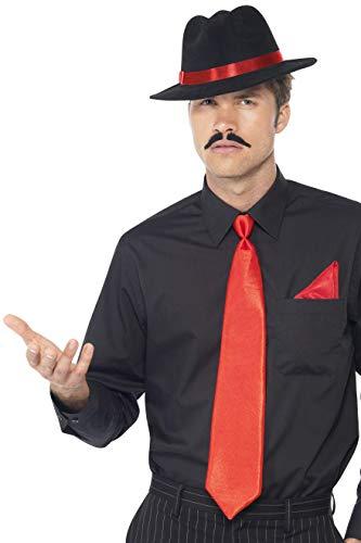 Smiffys Herren Gangster Set, Filzhut, Krawatte und Einstecktuch, One Size, Rot, 33109