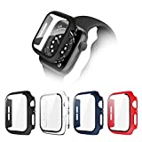 POHNUI 4 Pack Hard PC Case Compatible with Apple Watch Series SE/Series 6/Series 5/Series 4, Full Cover HD Tempered Glass Screen Protector Case, Shockproof Bumper Protector for iWatch Cover 44mm