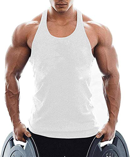 TX Apparel Camiseta de tirantes para hombre, de algodón Blanco S