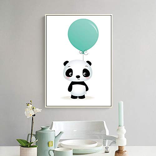 Frameloze schilderij Nordic minimalistische aquarel ballon panda aap tijger dier canvas schilderij art poster decorationZGQ2057 30X45cm