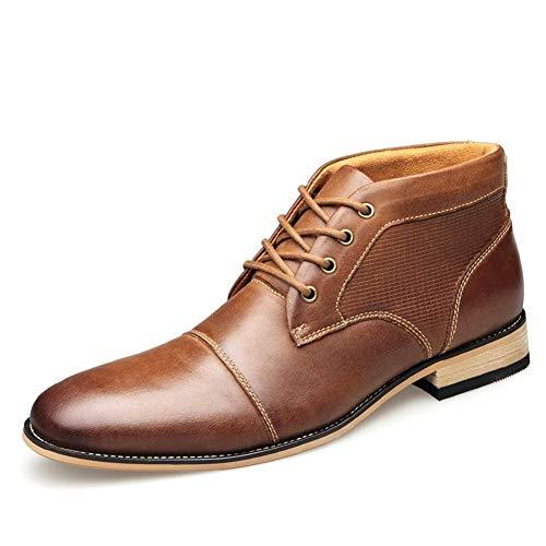 JIEIIFAFH Fashion Ankle Boots Hombres Chukka Boots Classic Oxford Business cordón de Cuero de Arriba Genuino talón Plano Resistente al Desgaste Easy Care (Color : Brown, Size : 42 EU)