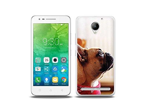 etuo Handyhülle für Lenovo C2 Power- Hülle Foto Hülle- Bulldogge mit Halstuch - Handyhülle Schutzhülle Etui Hülle Cover Tasche für Handy