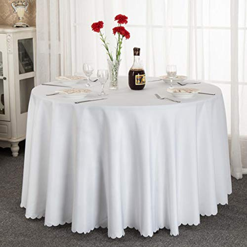 LIUJIU Mantel de hule de color blanco con diseño de flores blancas en relieve, diseño impresionante, rectangular, lavable, de vinilo, 2,4 m