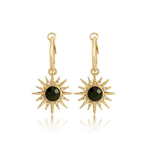 Empty modesieraad oorbellen kleur goud zwart met hanger zon voor dames accessoires voor dames