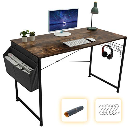 GOME Computer Writing Desk 47 inch Sturdy Large Study Work Desk for Home Office, Modern PC Laptop Desk Simple Style Industrial Table with Storage Bag & Haning Hook (Rustic Brown)