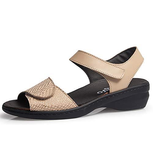Calzamedi, dames sandalen, van leer, met klittenbandsluiting, uitneembare binnenzool, wig 3 cm – 20620-204
