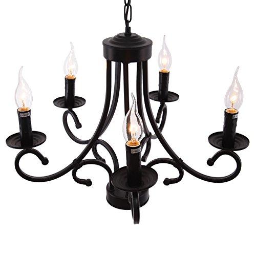 Iglobalbuy Vintage Eisen Kronleuchter 5 Kerze Stil Decke Pendelleuchte für Wohnzimmer Esszimmer - 5
