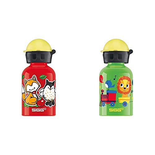 Sigg Trinkflasche Forest Kids, Kinder Trinkflasche, 0.3 L, Auslaufsicher, BPA Frei, Aluminium, Red & Trinkflasche Jungle Train, Kinder Trinkflasche, 0.3 L, Auslaufsicher, BPA Frei, Grün