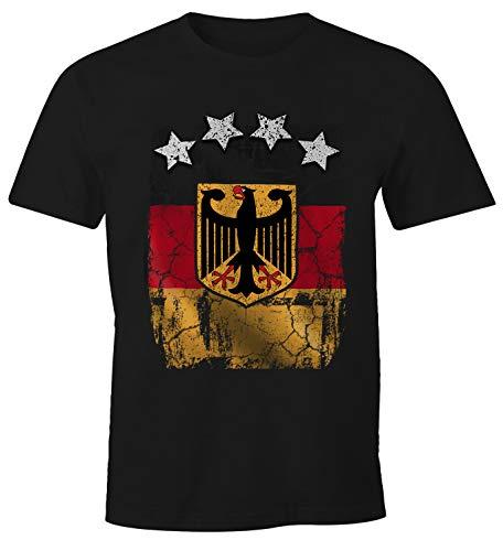 MoonWorks Cooles Herren T-Shirt Deutschland Fan-Shirt WM 2018 Fußball Weltmeisterschaft schwarz L