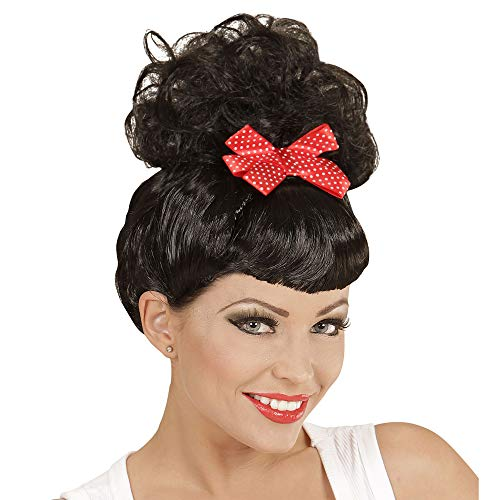 Widmann 01848 ? Perruque Rockabilly Pin Up Girl Noir avec Noeud Rouge