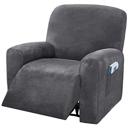 4 Pieces Velvet Recliner Chair Covers for Lazy Boy Recliner Furniture Protector, Thick & Soft Recliner Slipcovers with Side Pocket (Gray)