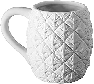 Creative Hobbies Pineapple Coffee Mug, Case of 6, Unfinished Ceramic Bisque, with How to Paint Your Own Pottery Booklet