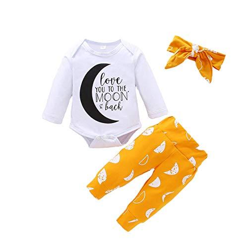 Body con estampado de letras, para recién nacido, para bebés y recién nacidos, con estampado de luna, incluye diademas de 0 a 24 m