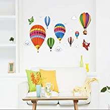 50x70cmcm,Wall Stickers for Kids Room,Wall Tattoo Art, Stickers,DIY Cartoon Airplane and Hot Air Balloons Decals, s Room Wallpaper Removable Romantic Home Vinyl Murals Decals Christmas Refrigerator