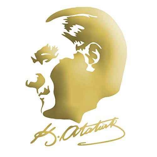 Auto Car Sticker Wandtattoo Wandaufkleber MacBook pro Air Aufkleber Mustafa Kemal Atatürk Kopf mit Unterschrift (ca. 11x10cm, Gold)
