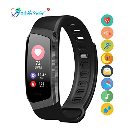 QILade Yzcing Fitness Tracker, Activity Tracker Health Exercise Band with Heart Rate and Blood, Waterproof Smart Watch with Step/Calorie/Sleep Monitor/SMS Call Pedometer,Best for Kids Women Men,B