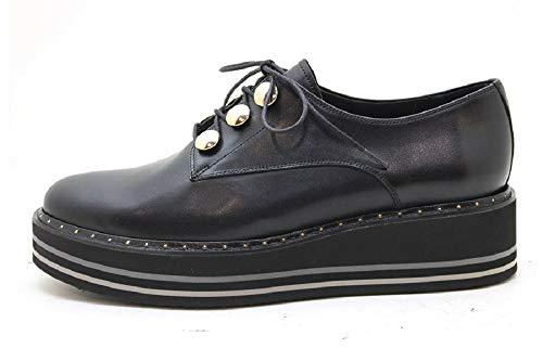 Pertini 16475, Zapato Abotinado Mujer Piel Negro Cordones