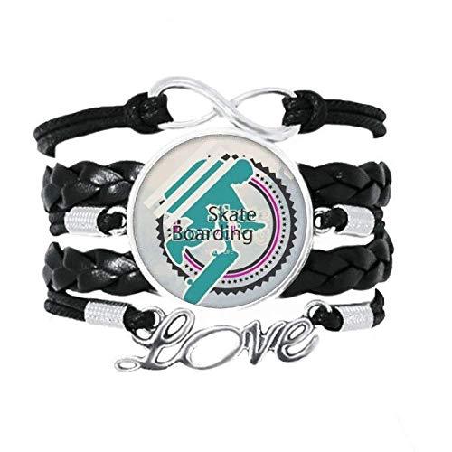 DIYthinker Armband für Sport/Snowboarden/Athleten, mit Illustration, gedrehtes Leder, Strickseil, Geschenk