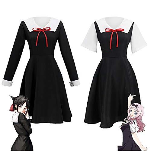 Kaguya-sama Love is War Traje de cos Kaguya Chika Traje de cosplay Uniforme escolar japonés Vestido y pelucas de verano para mujer,Vestido de uniforme de marinero de colegiala para mujer Anime japonés