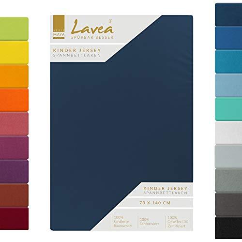 Lavea Kinder Jersey Spannbettlaken, Spannbetttuch, Serie Maya, 60x130cm   70x140cm, Galaxyblau, 100% Baumwolle, hochwertige Verarbeitung, mit Gummizug