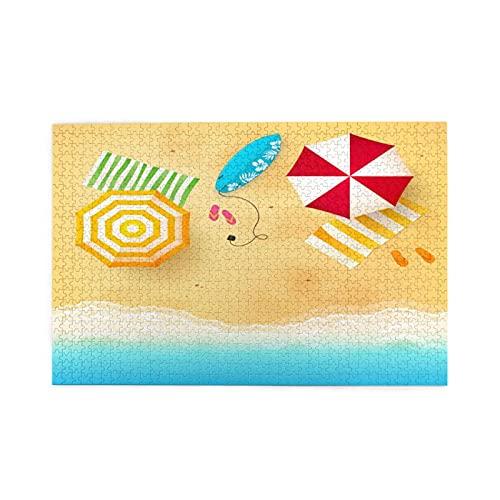 Sierra calar de 1000 piezas,Olas de playa con toallas de sombrilla y tabla de surf natación temática temporada de,juegos rompecabezas imágenes para adultos y niños Regalo graduación de boda familiar