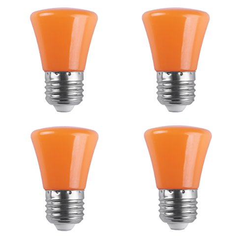 AWE-LIGHT 4-Pack 2W LED Colored Orange Light Bulb G45 E26 Medium Base Color Light Bulb for Wedding Halloween Christmas Party Bar Mood Ambiance Decor (Orange)
