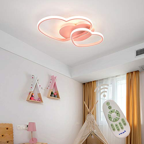 LED Deckenleuchte Dimmbar Kinderzimmerlampe Mädchen Schlafzimmer Lampen mit Fernbedienung, 40w Liebe Herz Design Acryl-schirm Metall Deckenlampe für Küche Esszimmer Deko Decke Leuchte Ø50*H5cm Pink
