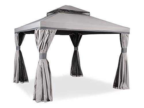 Garden Point Garden Pavilion Valencia with a Mosquito Net & Curtains | 300 x 300 cm | Rectangular | Water-repellent Materials | Perfect to Cover Garden Furniture & Jacuzzi | Easy Assembly | Grey