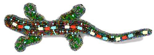 Broche lagarto grande porcelana, cristal y perlas de-Colgante con diseño de fantasía