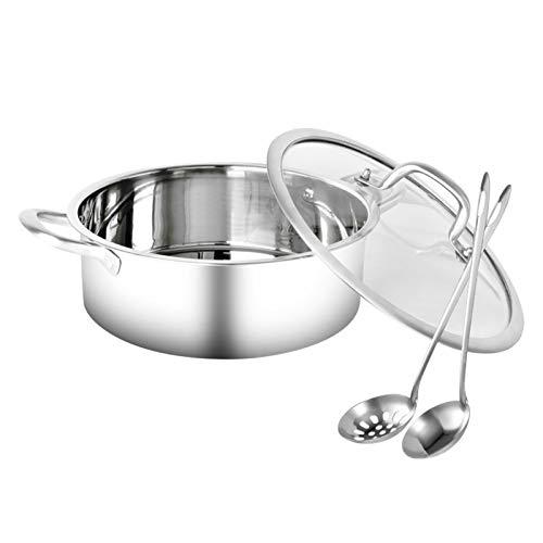 Juego de ollas calientes, de acero inoxidable, resistente al calor, con 2 cucharones de colador de sopa, plato de sopa de doble cara con tapa, para cocina de inducción (olla de sopa, tamaño: 26 cm)