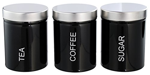 Finest Selection Café Thé Sucre rectangulaire Tin Jar Canister Noir Pack de 3