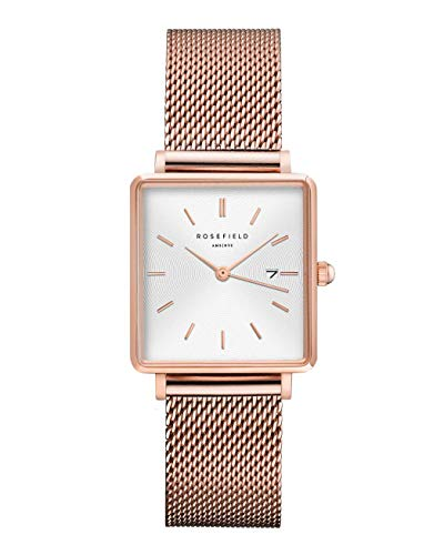 Rosefield Women's Year-Round Quartz Watch with Stainless Steel Strap, Rose Gold, 16 (Model: QWSR-Q01)