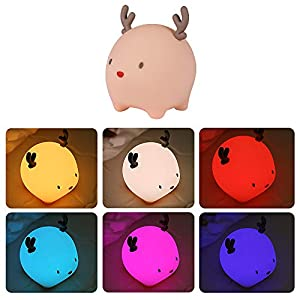 Eutoria Christmas Deer Night Light|Cute Fun LED lamp|Nursery Night Light for Baby|Gifts for 2-8 Years Old Gift Box| Touch Lamp for Bedrooms Living Room Portable |with Rechargeable Internal Battery