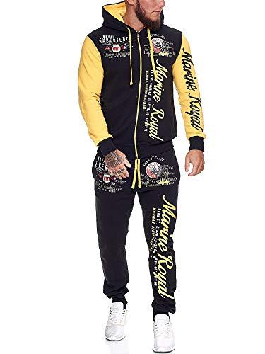 OneRedox | Herren Trainingsanzug | Jogginganzug | Sportanzug | Jogging Anzug | Hoodie-Sporthose | Jogging-Anzug | Trainings-Anzug | Jogging-Hose | Modell JG-512 Gelb S