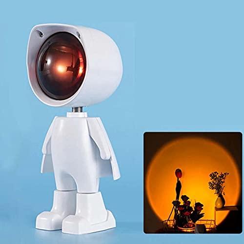 N\A Internet Celebridades Robot Proyección Sunset Luces LED Lindo Robot Sunset Lámpara de proyección Rainbow Luces de noche USB recargable romántico proyector para sala de estar dormitorio decoración