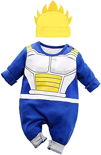 Vegeta Outfit Baby Costume, Cute Infant Toddler Onesie Cool Newborn Goku Cosplay Hooded Romper Cartoon Pajamas Clothes (Blue, 6-9 Months)