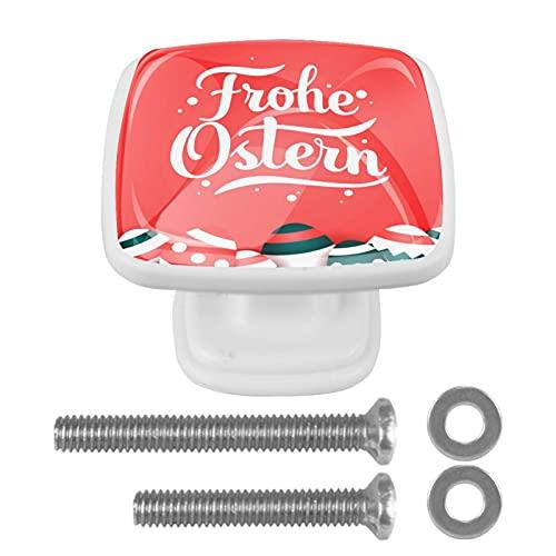 Boutons de poignées d'armoire pour tiroirs de bureau de porteHappy Pâques Frohe Frohe Ostern Verre cristal poignées 4 pièces