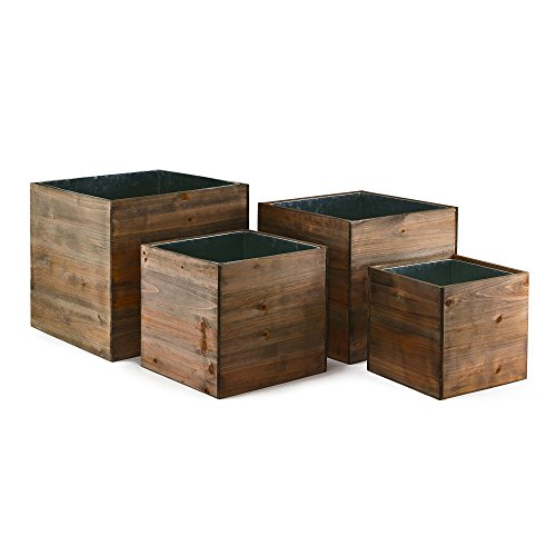 CYS EXCEL - Cubic Wood Planter Box Set - Include Zinc Metal Liner [7 Sizes Combinations] - Ideal for Garden Decoration - [Set of 4 sizes: 8', 10', 12', 14']