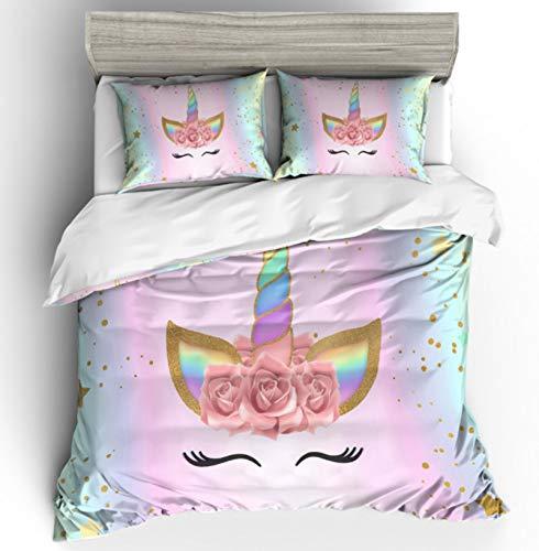 funda nórdica Juego de ropa de cama 3D con dibujos animados de unicornio 200 x 200, caricatura arco iris unicornio blanco caballo ,ropa de cama infantil