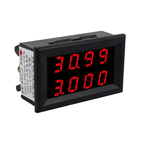 MagiDeal Mini Digital Voltmeter DC 3,5-28 V Amperemeter Panel Meter Spannungsanzeige Messer - Dual LED Display - Rot