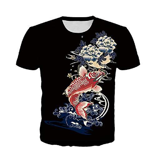 Carp 3D Digital Fashion Print Sommer Loose Large Herren T-Shirt Gr. S, Schwarz
