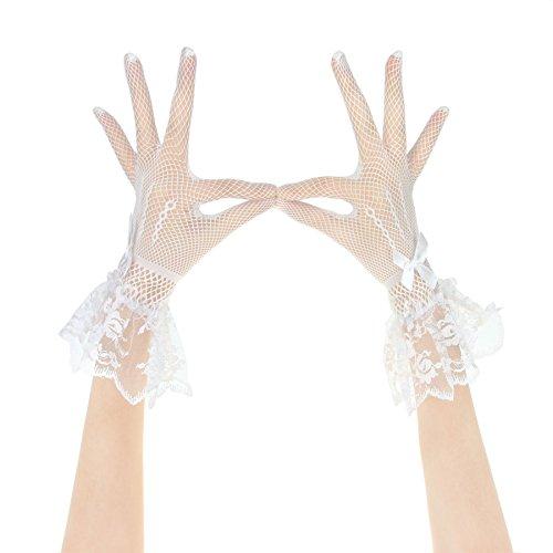 JIAHG Kurz Brauthandschuhe Spitzenhandschuhe Hochzeithandschuhe Gestrickt elastisch Netz Handschuhe Abendhandschuhe für Hochzeit Party